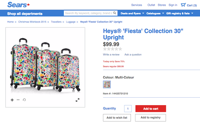 Sears Heys Fiesta Luggage - RetailMeNot Canada #HolidayCents