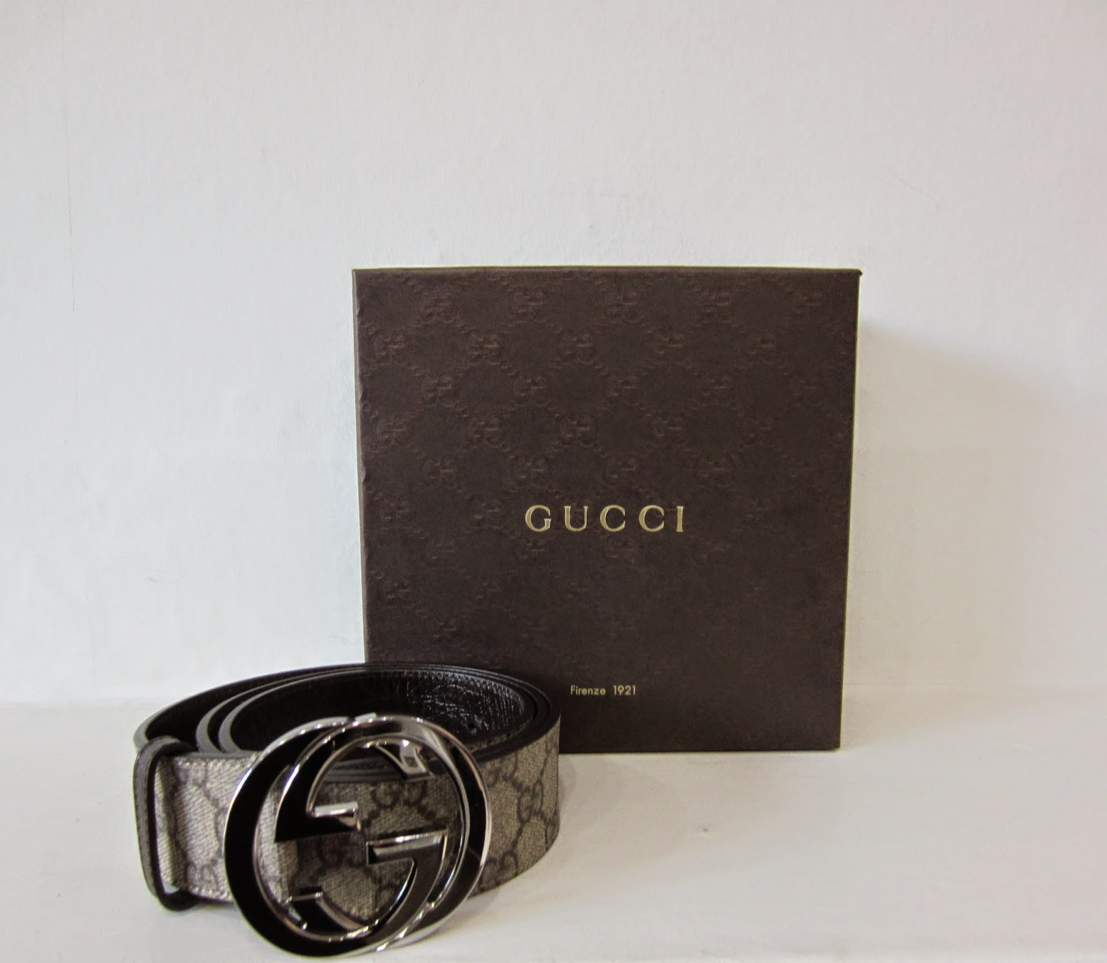 Gucci Monogrammed Belt with Box