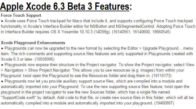 Xcode 6.3 Beta 3 (6D543q) Features & Changelog
