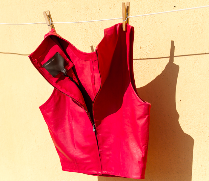 Muubaa red Leather vest Arkansas style çNew Collection