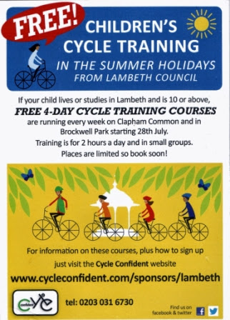 Lambeth Children's cycle training flyer 1