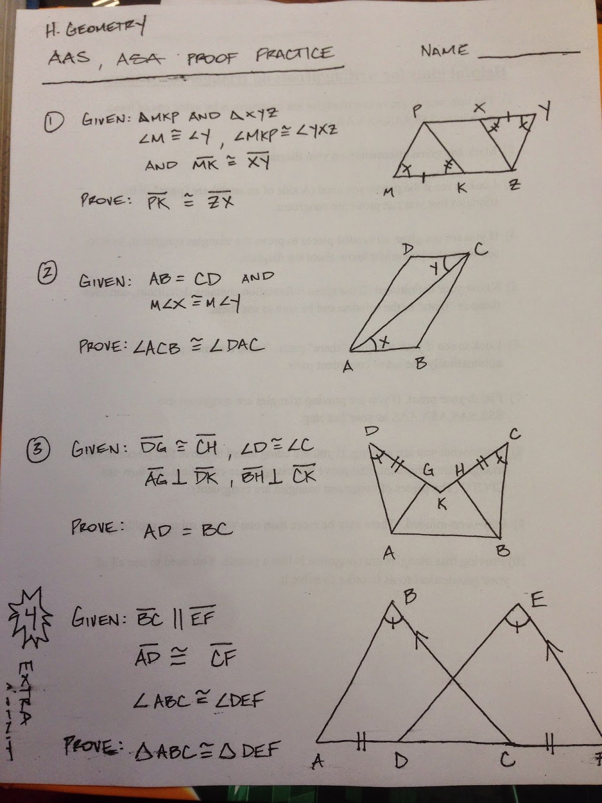 Honors Geometry Vintage High School Section 4 5 Proof Practice