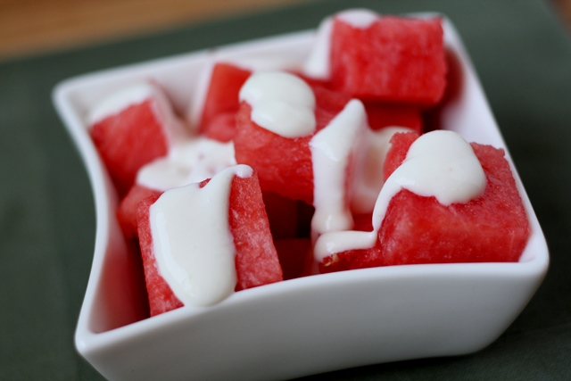 Watermelon with Ginger Lime Dressing recipe by Barefeet In The Kitchen