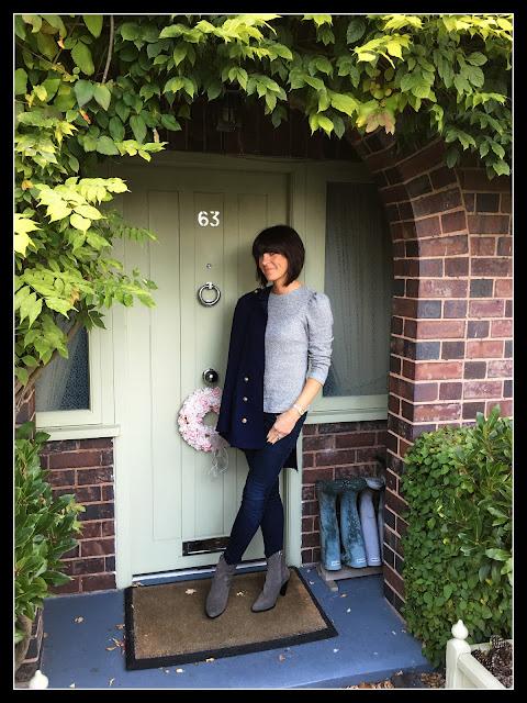 My Midlife Fashion, Blazer, Zara Cowboy Heeled Boots, Skinny Jeans, Cropped Top, J Crew Classic Pave Bracelet