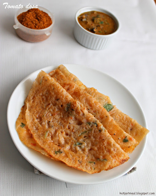 Hot pot cooking: Tomato dosa