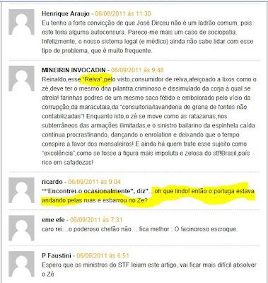 """A revista lembra de uma viagem que Dirceu fez a Portugal em 2007. No aeroporto de Lisboa, um brasileiro o saudou: """"Tem ladrão na fila"""". Segue mais um trecho da reportagem"""
