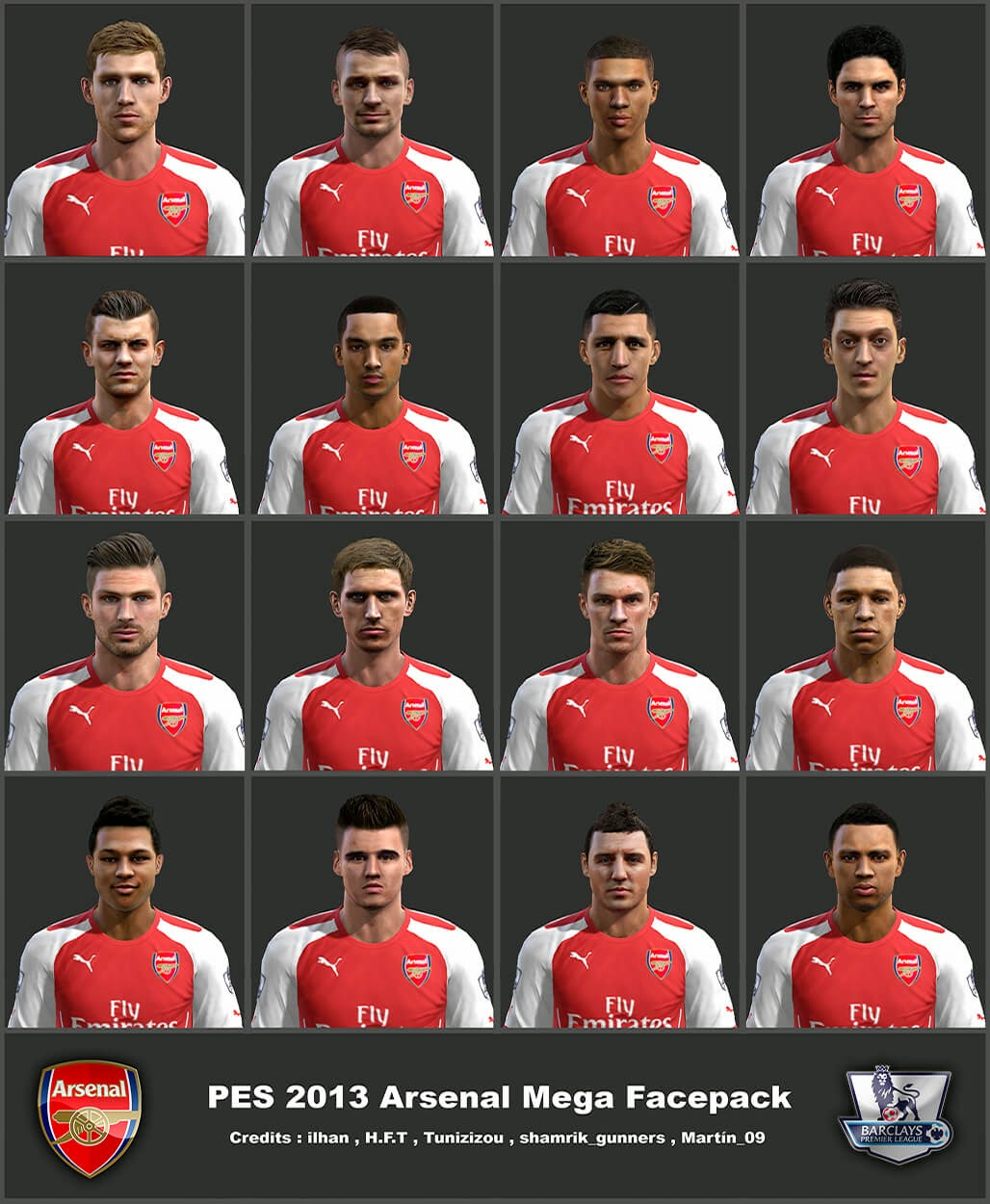 PES 2013 PC: Mega facepack (pacote de faces) do Arsenal