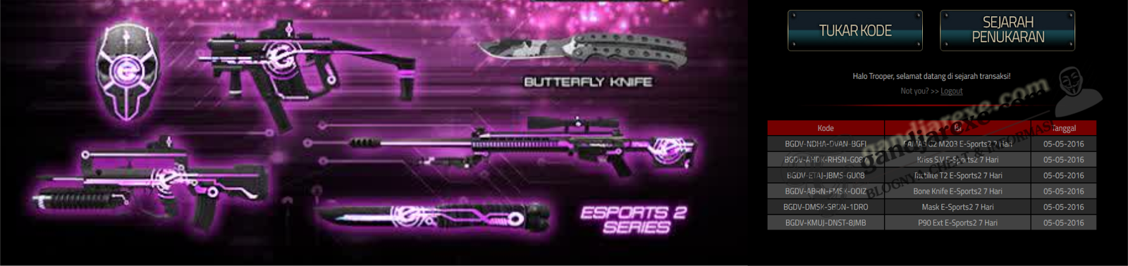 Redeem Code Weapon PB E-Sports 2 Series NEW !!!!