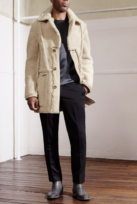 Maison Martin Margiela for HM, Shearling coat, long-sleeve navy satin top, black suit trousers, grey painted boots, men's fashion, fashion style, great style