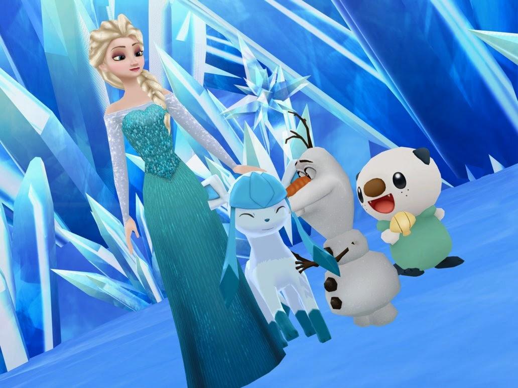 La reina elsa con sus pokemons favoritos