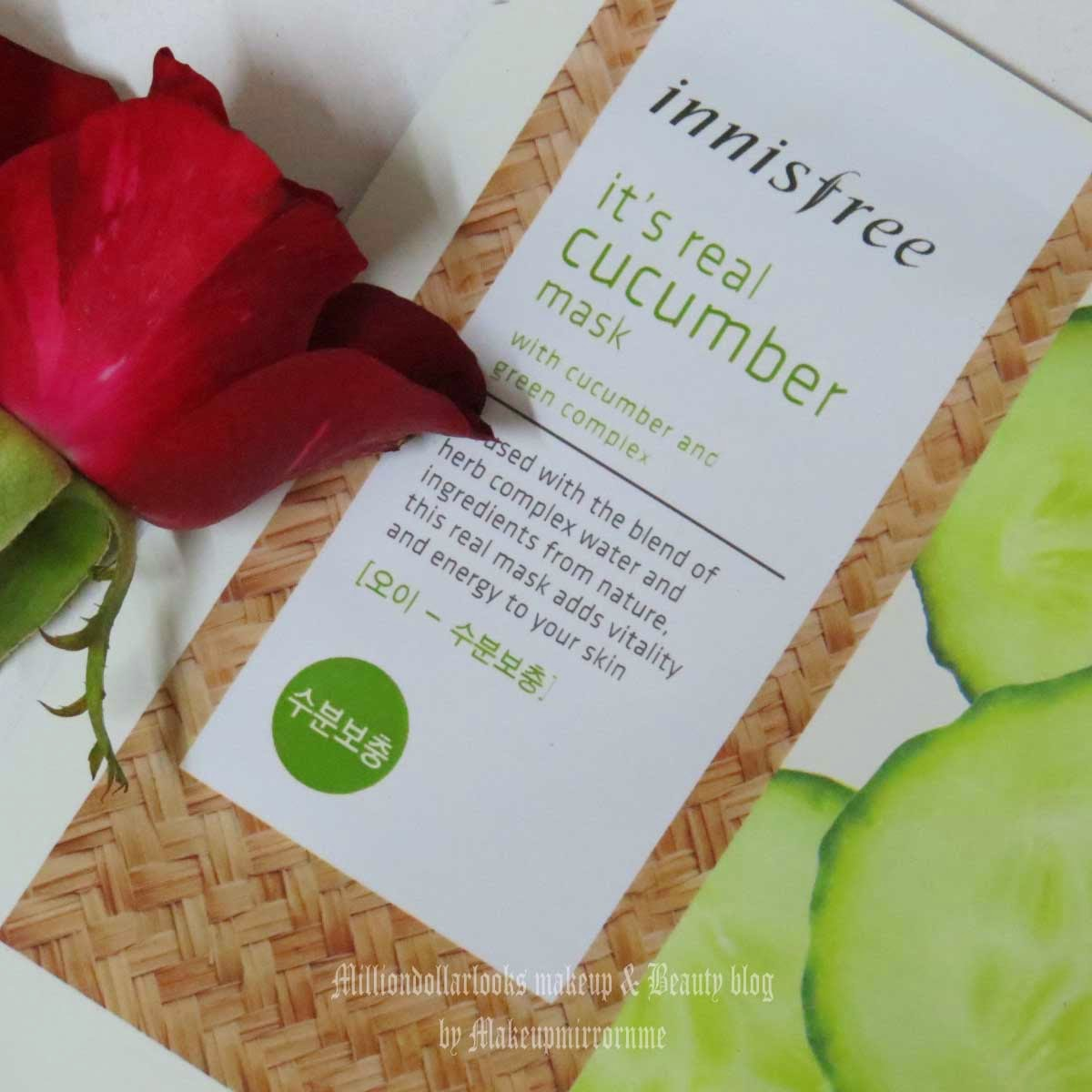 Innisfree It's Real Cucumber Mask Review & Pictures, Indian beauty bloggers, Top beauty blogs in India, MillionDollarLooks, Innisfree face mask review india, Innisfree face mask price in India, Innisfree review India, Cucumber face mask, Glowing skin, Face mask sheets available in India, Korean skincare brand, Korean face mask sheets available in India, Beauty bloggers India, Natural korean face sheet masks, Innisfree India