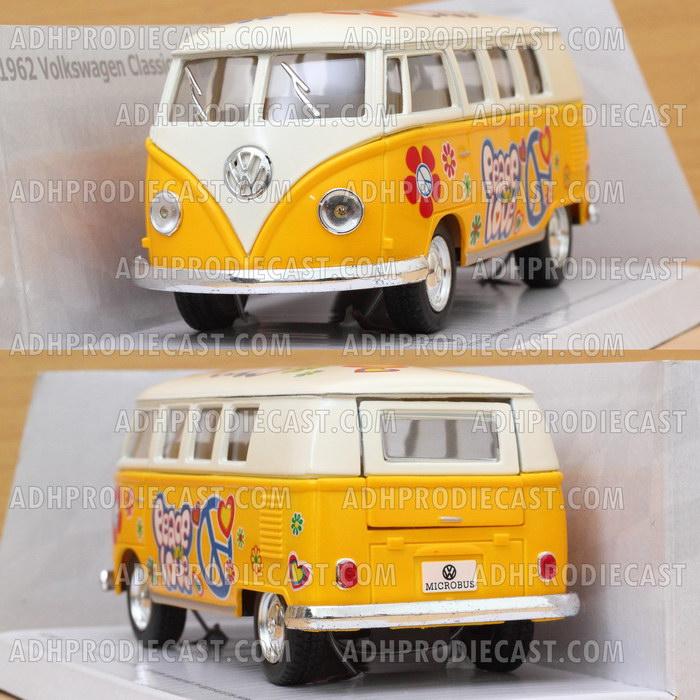 Miniatur VW Bus 1962 White Top Motif (Yellow-32K)