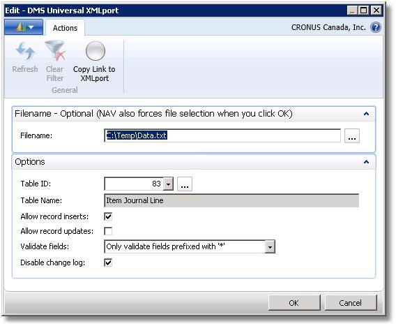 DMS Universal XMLPort