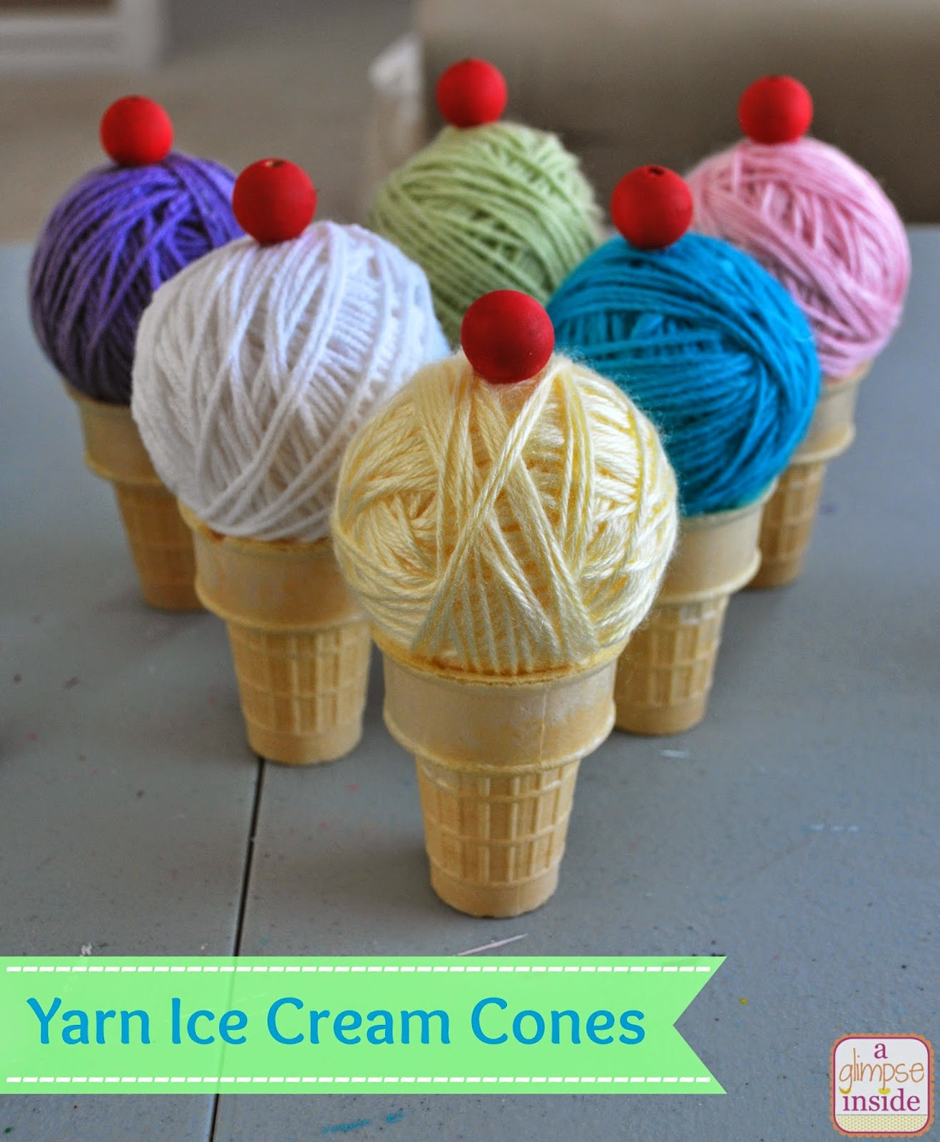 http://www.aglimpseinsideblog.com/2014/06/yarn-ice-cream-cones.html