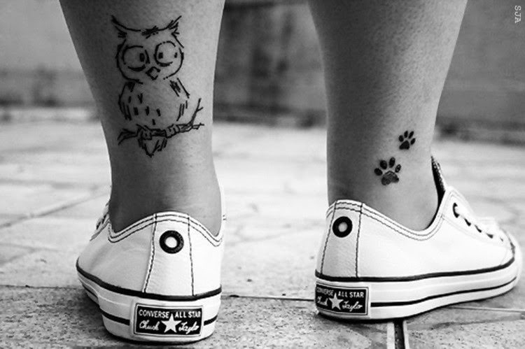 ♥ ♫ ♥ omg i want this ♥ i always wanted and owl and paw print tattoo. giving me ideas. ♥ ♫ ♥