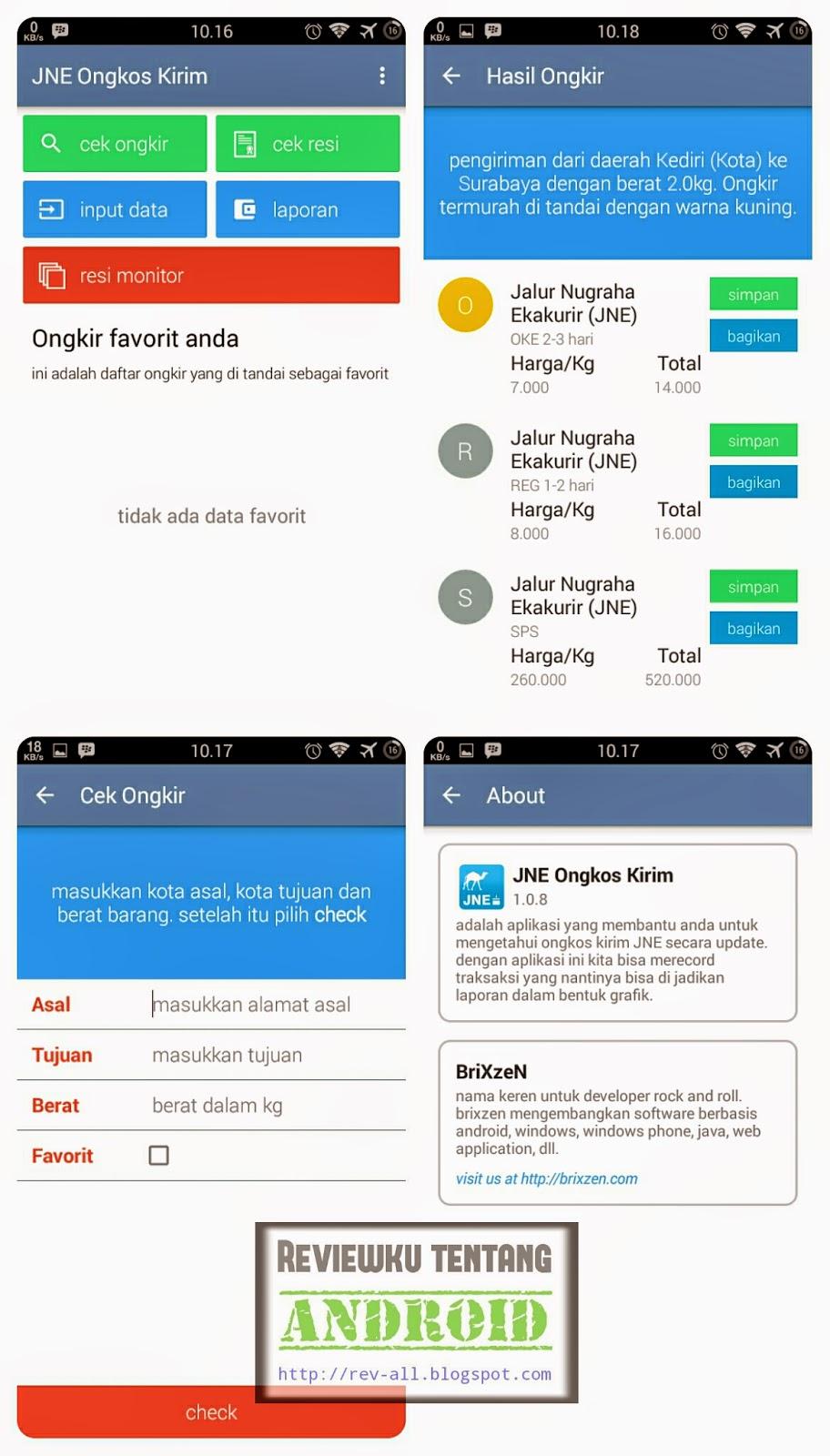 Tampmilan JNE Ongkos kirim - aplikasi android untuk cek ongkir barang via JNE (rev-all.blogspot.com)