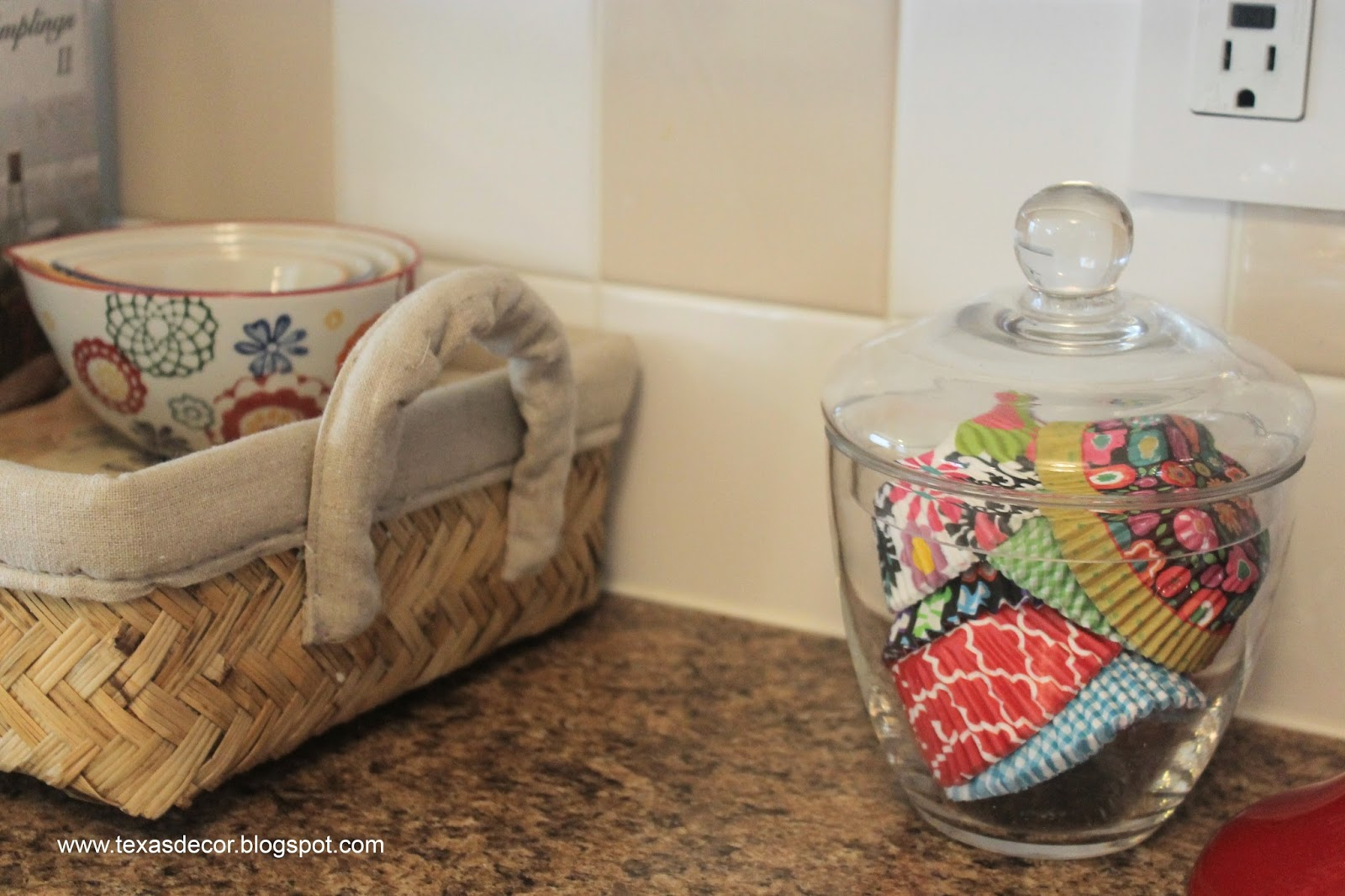 cupcake liners in apothecary jar
