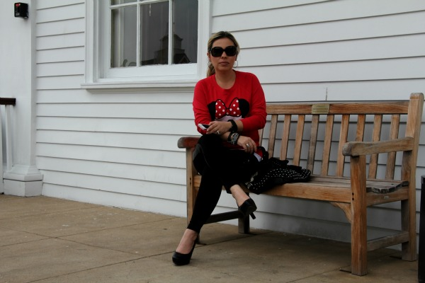 Black Pants Zara, Red Cupcake Sweater - Forever 21, Studded Black Bag - TJ Maxx, Accessories - my own and TJ Maxx, Black Pumps - Me Too, Oversized Round Check Sunglasses - Burberry, Watch - Unlisted