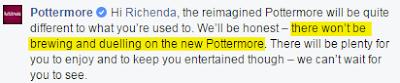 Niente più pozioni e duelli in Pottermore