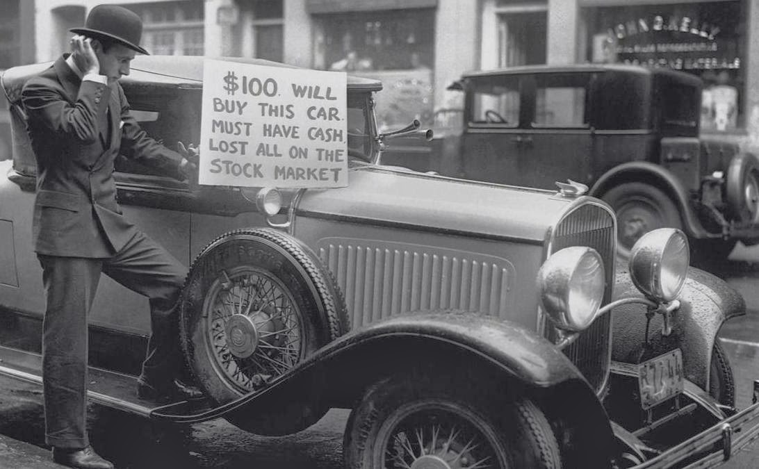 A man trying to sell his car after losing all in the Great Crash of ...