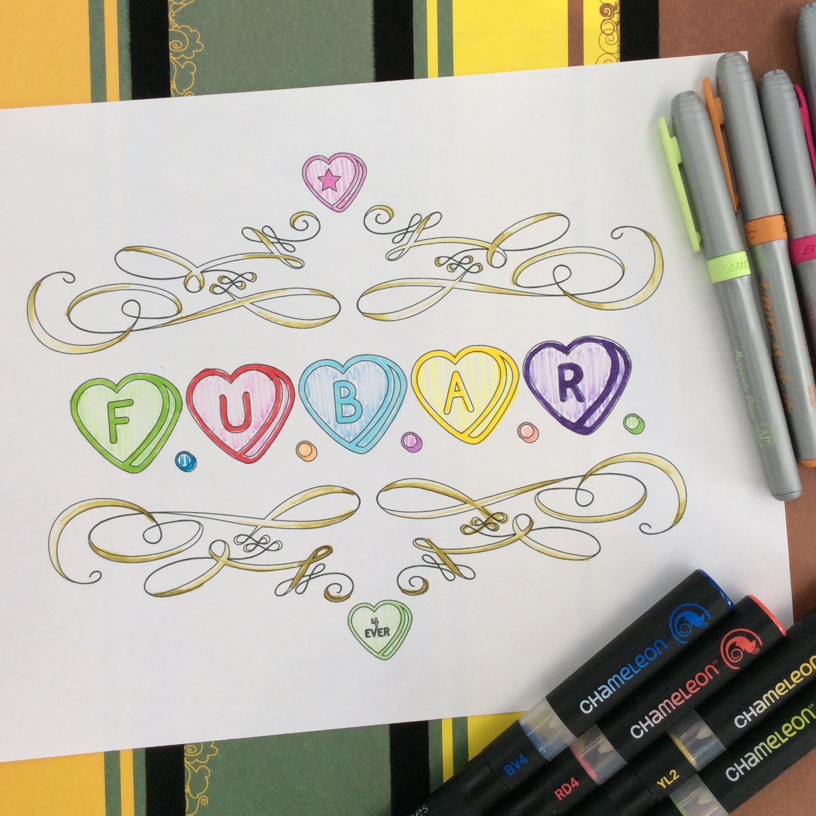FUBAR Conversation Heart Adult Coloring Page Stefanie Girard