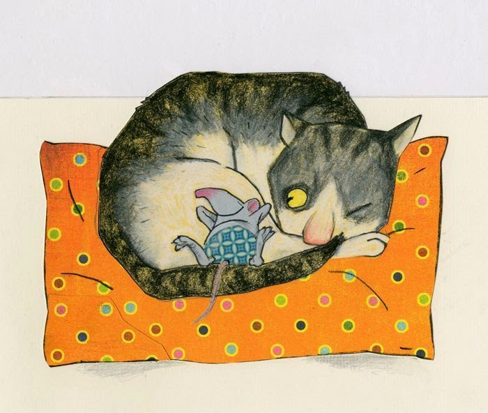 happy mouse and cat relaxing illustration by Robert Wagt