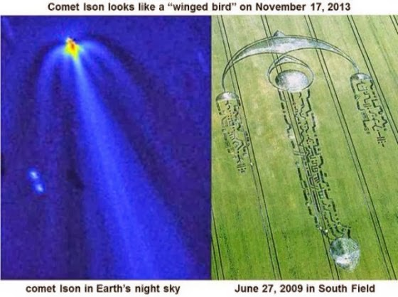 Comet ISON Striking Resemblance To Crop Circle - A Warning To Humanity?