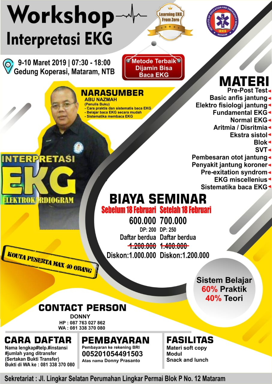 Learning EKG from Zero di Mataram/NTB 9-10 Maret 2019