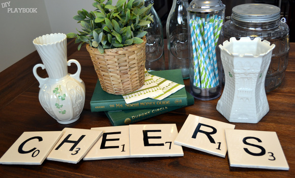 St. Patrick's Day coasters scrabble cheers