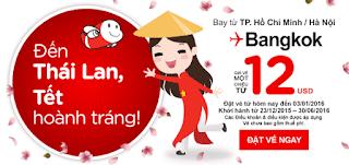 Vé máy bay giá rẻ đi Bangkok chỉ 12 USD ~ khuyến mãi Air Asia cuối tháng 12