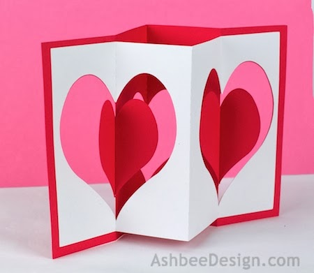 The Card Is Built On The Accordion Concept Layer Two Cut Sheets Of Card  Stock Together. I Designed Two Versions   The Heart Accordion Card.