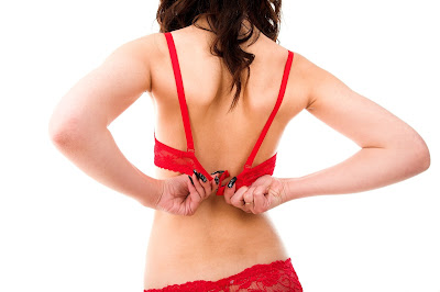 Woman wearing red underwear