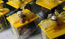 Caixa de vidro com Pão de Mel formato de flor