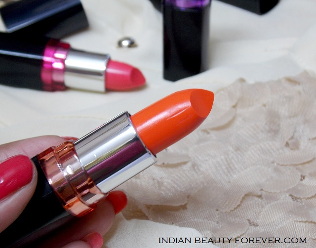 Maybelline Color show lipsticks Crushed Candy, Violet Delight and Orange icon Review
