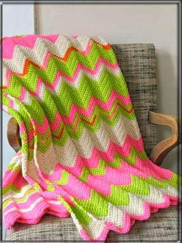 Teje tus propias mantas zig zag con ganchillo paso a - Como hacer una manta de lana para el sofa ...