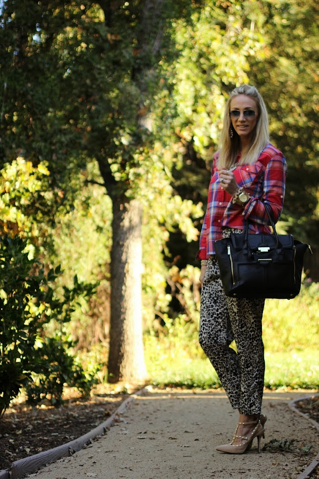 leopard and plaid mixed prints