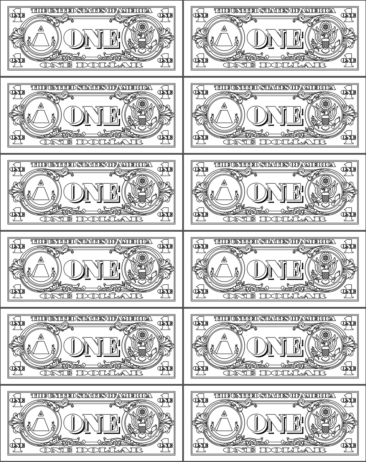 Play Money Dollar Bill Coloring Page RED Boy & Girl Bird Printable ...