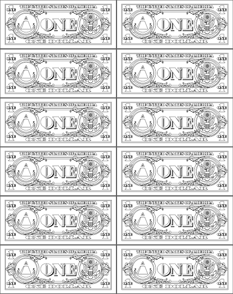 dollar bill coloring page printable - printable play money coloring pages
