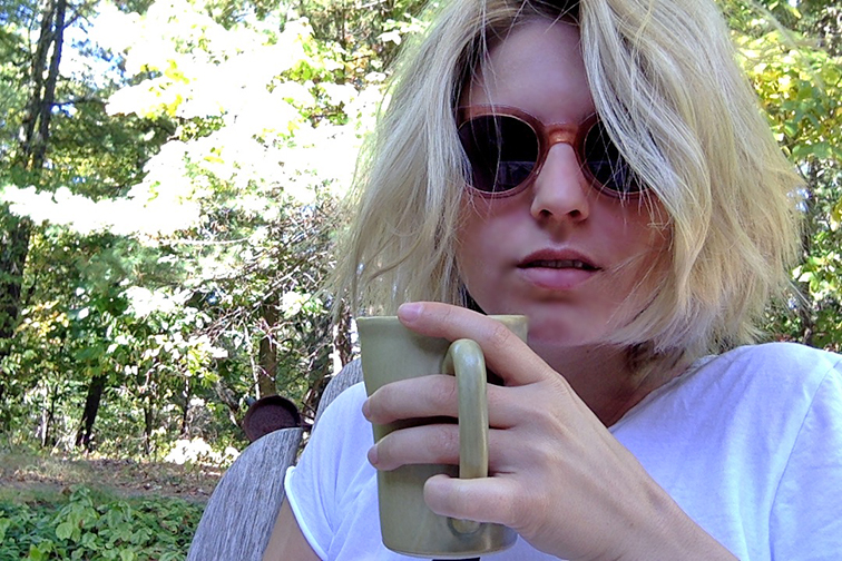 Mornings in Mohonk, sipping on coffee outside, great outdoors, relaxing weekend Upstate, Raen Arkin sunglasses