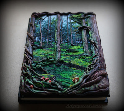 """""""Mystical forest book""""polymer clay notebook cover"""