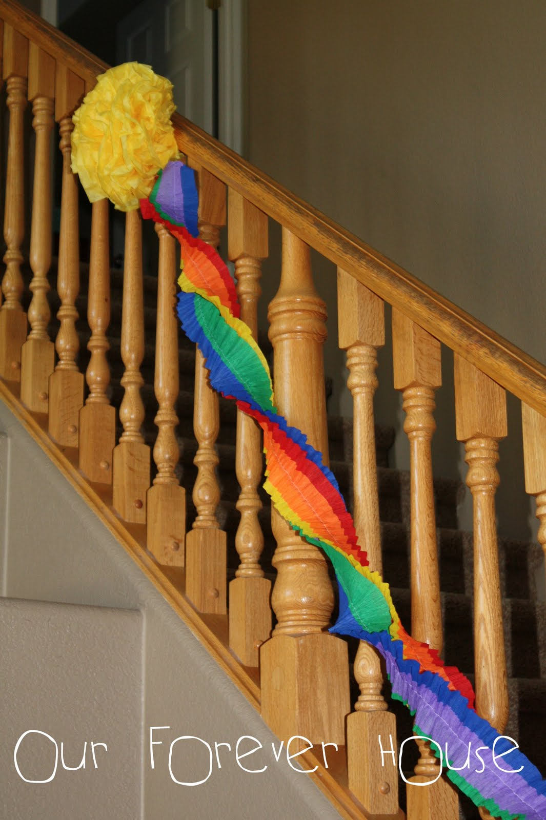 Our forever house rainbow birthday party sneak peek - Birthday decorations with crepe paper ...