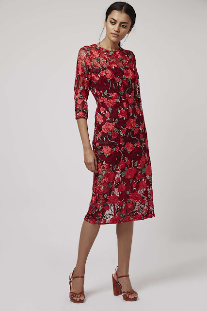red topshop lace dress, red lace midi dress,