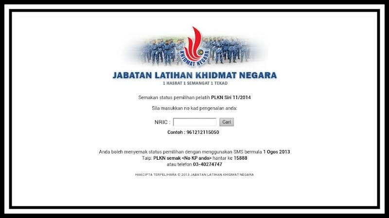 Semakan Status PLKN Terkini   Semak Status PLKN 2013