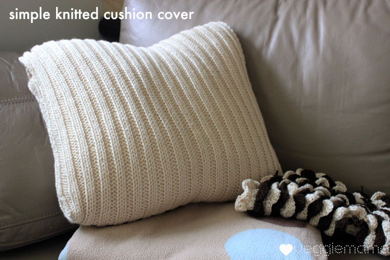 Knitting Pattern For Round Cushion Cover : Veggie Mama: Tutorial - knit a simple cushion cover