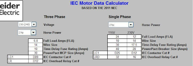 square d three phase motor data calculator