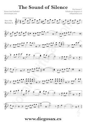 Tubepartitura The Sound of Silence de Simon y Garfunkel partitura de Saxofón Alto y Barítono El sonido del silencio música de pop - rock