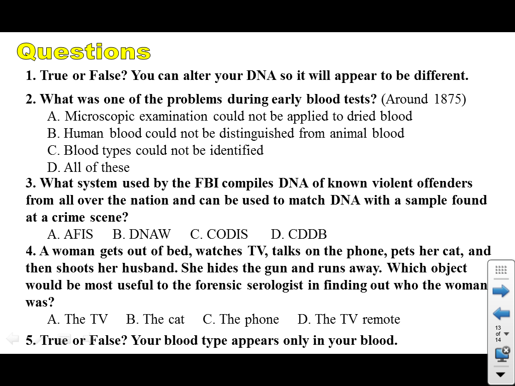 friday 2 2014 sawchyn science and computers forensics blood basics internet assignment handout use these forensic websites to help you the answers to the questions period 3 biology 40s