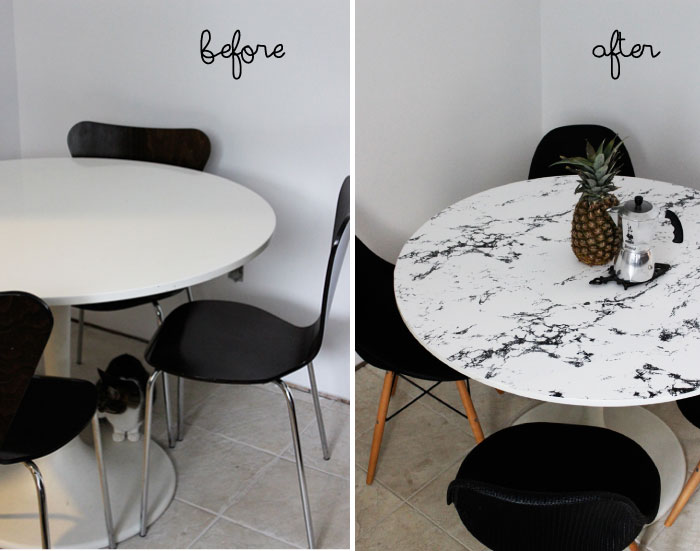 DIY Faux Marble Table Top Poppytalk