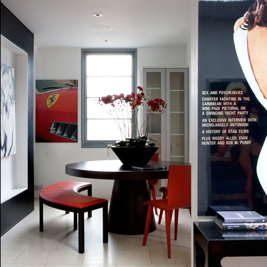 New home interior design take a tour around a modern for Black white and red dining room ideas