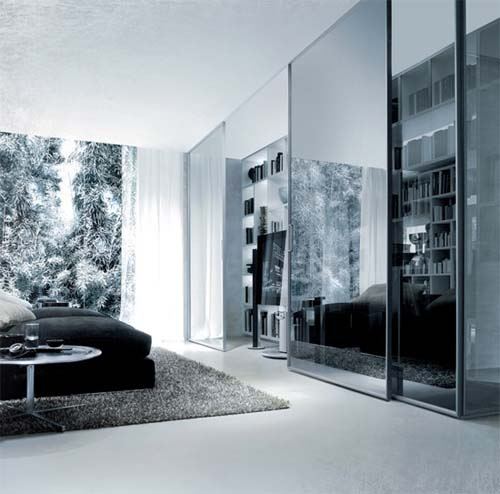 Glasses Sliding Panel System by Rimadesio